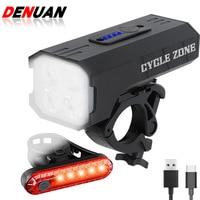 Set di luci per biciclette ricarica USB antipioggia luci per ciclismo a LED lampada frontale faro alluminio torcia ultraleggera luce per bici