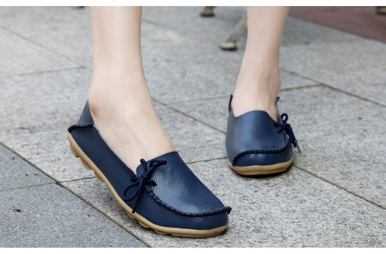 AH 911-2019 Spring Autumn Genuine Leather Women Loafers Walking Mother Flats-6