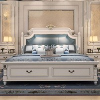 American country 1.8 meters European style double marriage bed storage high box bed 1.5 meters bedroom solid wood bed