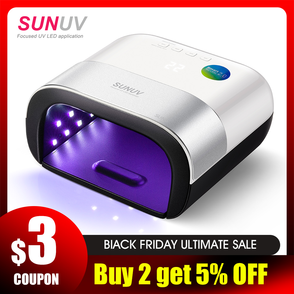 SUNUV SUN3 Nail Dryer Smart 2.0 48W UV LED Lamp Nail With Smart Timer Memory Invisible Digital Timer Display Nail Drying Machine