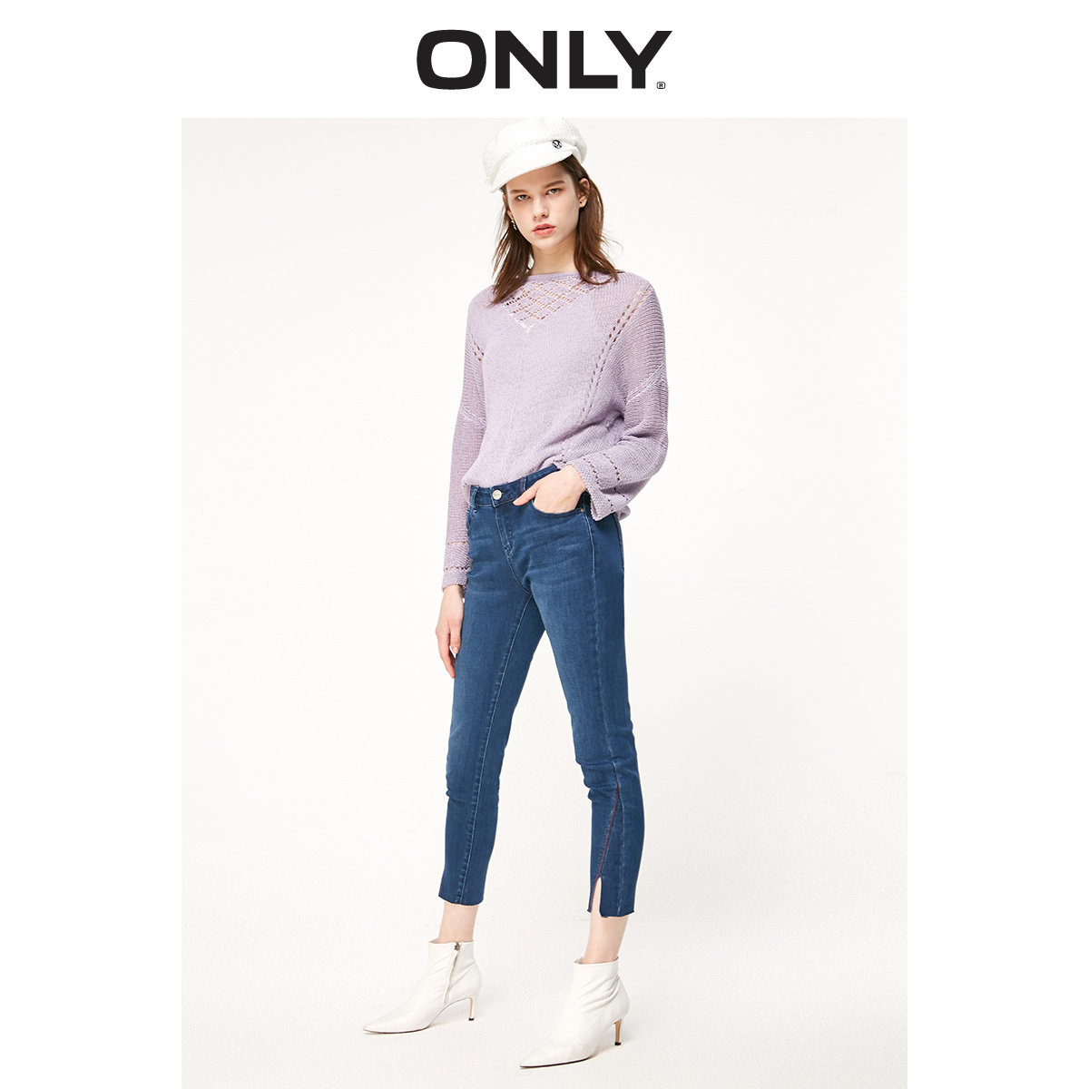ONLY Women's Skinny Low-rise Split Crop Jeans | 119149634