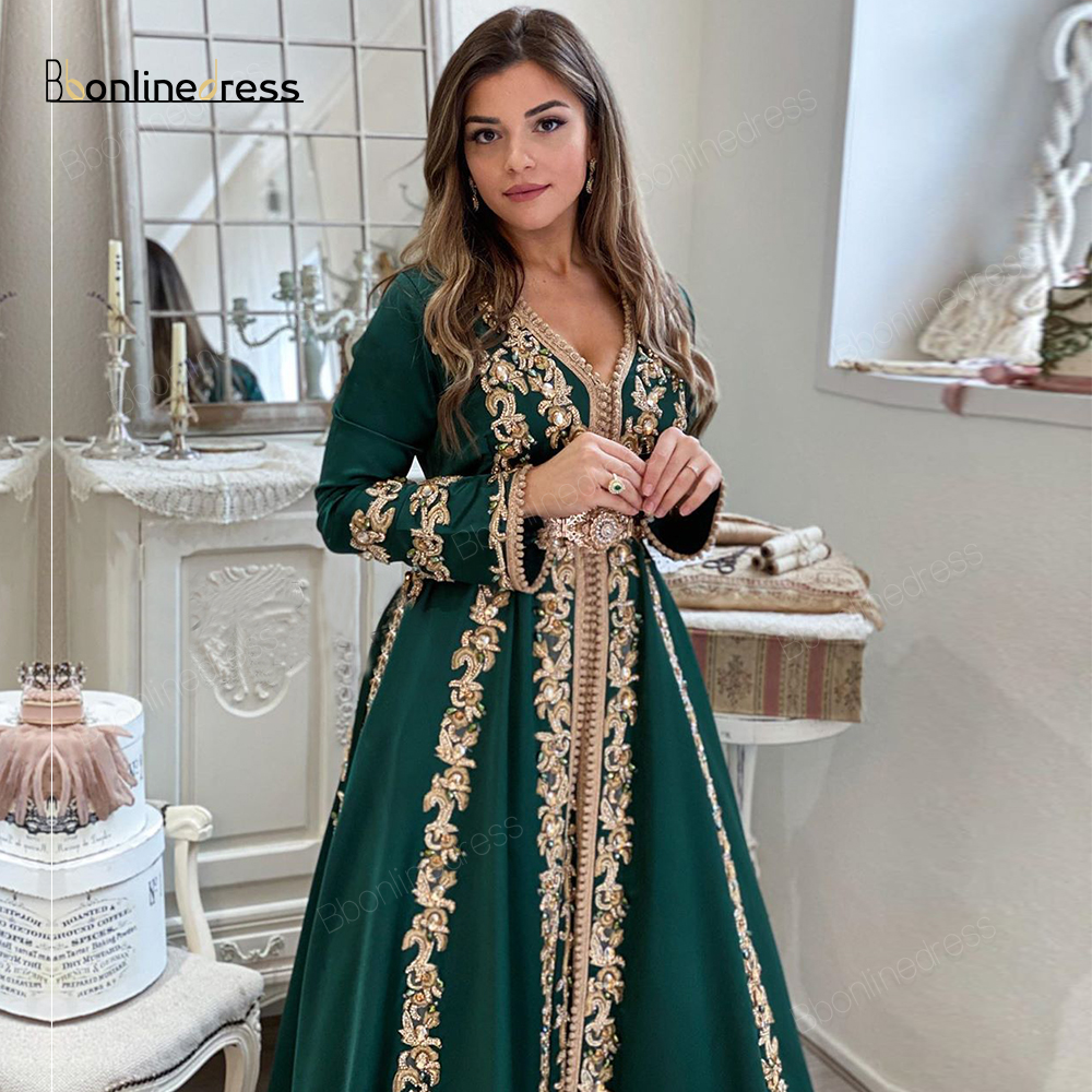 Bbonlinedress Moroccan Kaftan Evening Dresses Embroidery Beaded Long Evening Dress Full Sleeve Arabic Muslim Party Dress