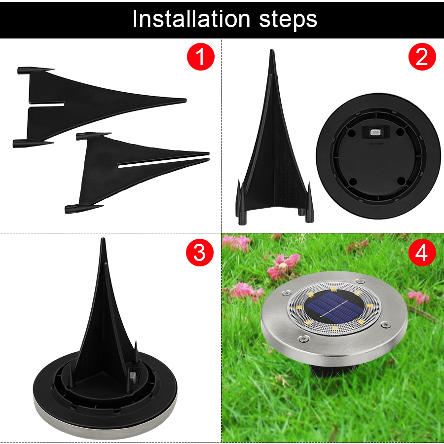 Round Shaped In Ground Solar Outdoor light with 8 LED and Infrared Light Sensor for Garden Pathway 12