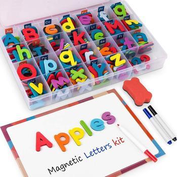 10/26 Pcs Magnetic Letters  Uppercase Lowercase Foam Alphabet ABC Magnets for Fridge Refrigerator Educational Toys Set 1