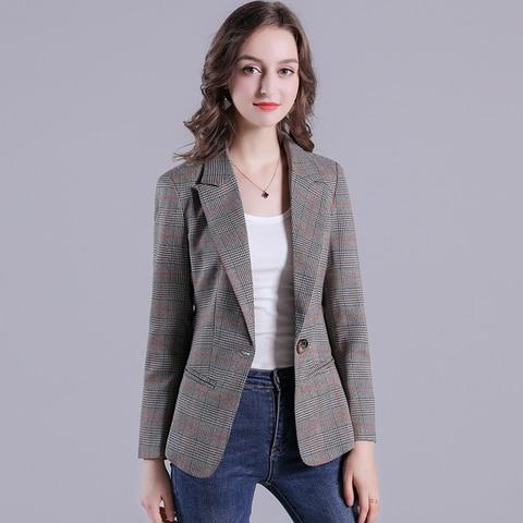 2019 Russia Plaid Women Blazer Pockets Jackets Female Retro Suits Coat Feminino Outerwear Karachi
