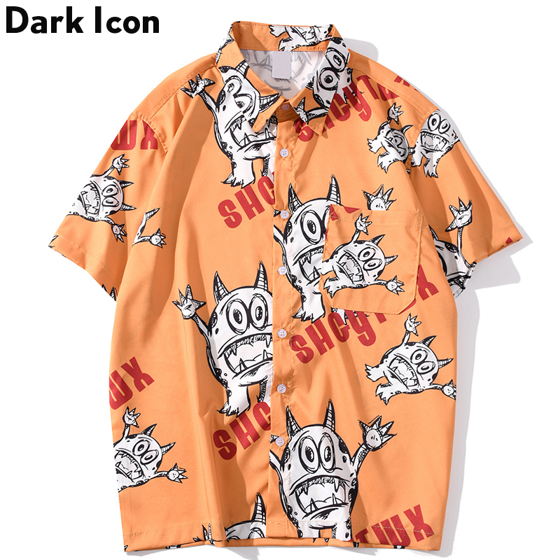 Dark Icon Printed Street Shirts Men Turn-down Collar Fashion Hip Hop Shirt 2020 Summer Hawaii Beach Blouse Male