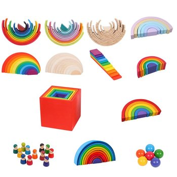 Baby Toys Large Rainbow Stacker Wooden Toys For Kids Creative Rainbow Building Blocks Montessori Educational Toy Children montessori wooden rainbow blocks baby toys wooden toys for kids creative rainbow building blocks montessori educational toy