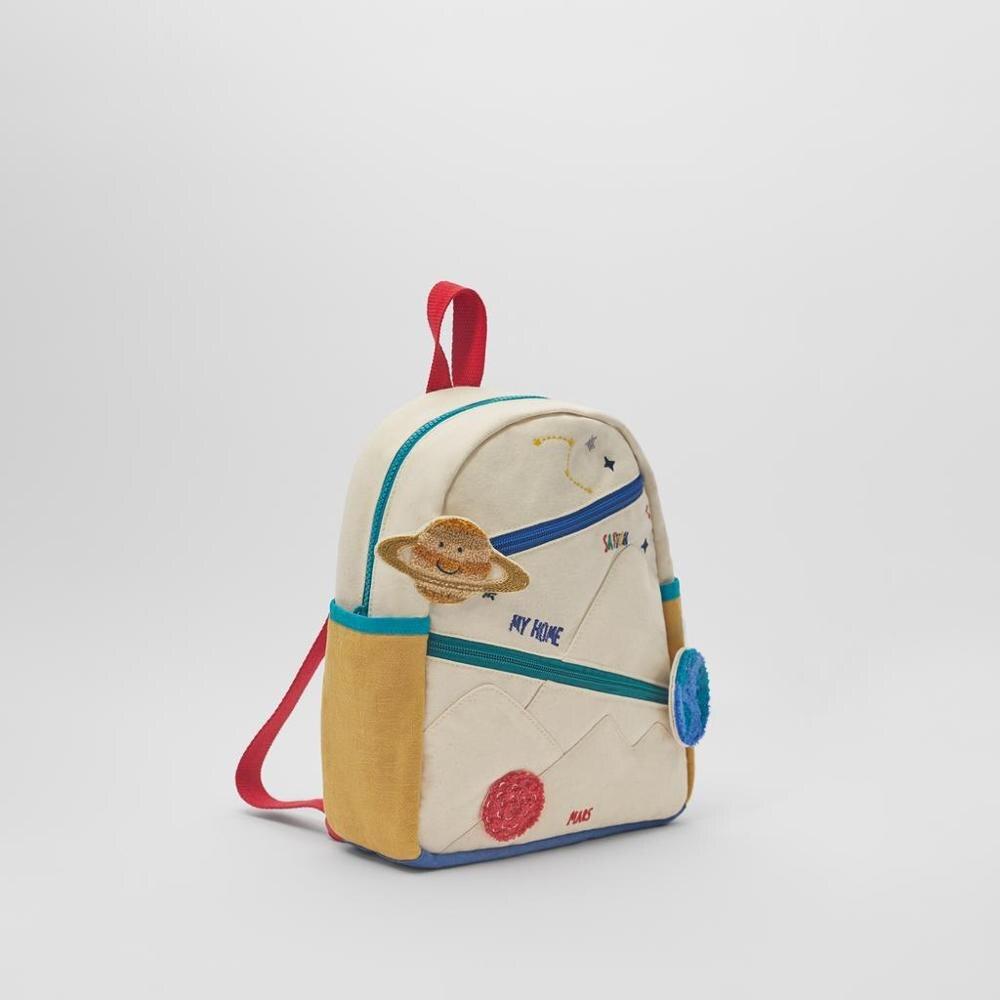 Новый детский хлопчатобумажный холщовый рюкзак с вышивкой земля Звезда шар милая девушка цвет сочетается Повседневная маленькая школьная сумка-2