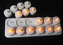 Set Van 12 Oplaadbare Led Kaars Vlamloze Statische Theelichtje Elektrische Lamp Waxless Valentijn Home Wedding Xmas Tafel Decor-Amber