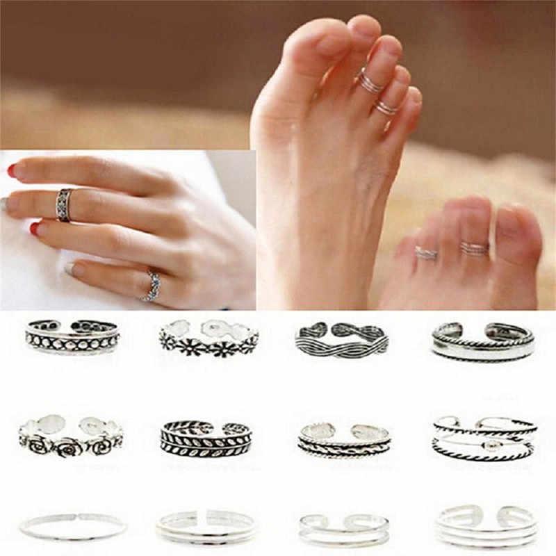 12 pçs/set feminino senhora única abertura ajustável dedo anel retro esculpido toe anel pé praia pé jóias anillos mujer