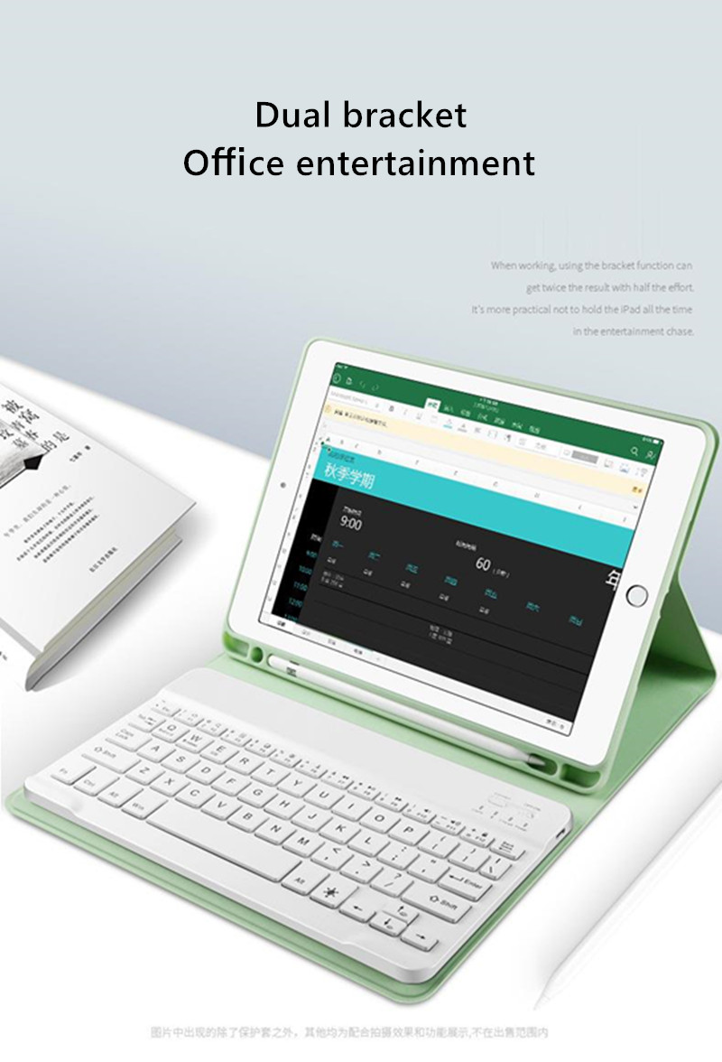 Pencil-Holder for Keyboard-Case 7th-Generation Bluetooth Cover Apple iPad with