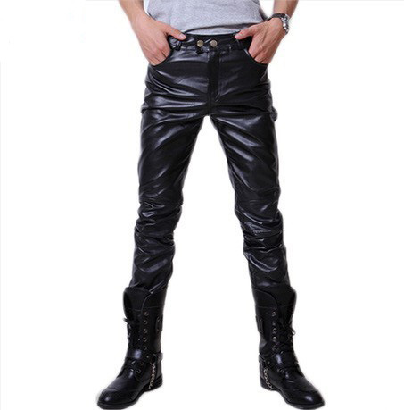 Spring And Autumn New Style Leather Pants Men's Korean-style Men Straight-Cut Leather Pants Solid Color Men's Trousers