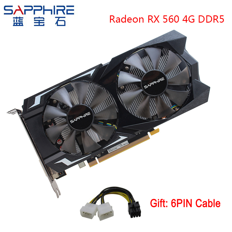 SAPPHIRE AMD Radeon RX 560 4GB 128bit GDDR5 Graphics Card PCI Desktop RX560  Video Card For PC Gaming For Used Cards Gamer