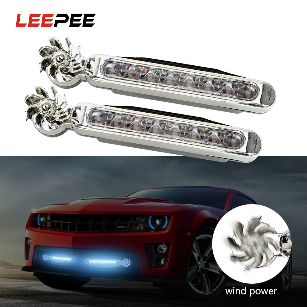 LEEPEE 1 Pair LED Wind PoweredCar Lamp Vehicle Light No Need External Power Supply With Rotation Fan Car Daytime Running Lights