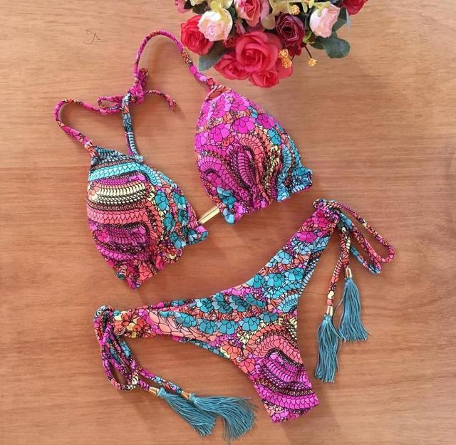 Sexy brazilian bikini set Feather print swimsuit women Bandeau swimwear female Hollow out bathing suit Micro 2 piece suit