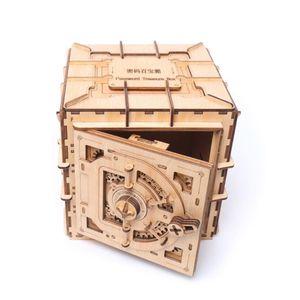 Image 2 - 3D Puzzles Wooden Password Treasure Box Mechanical Puzzle DIY Assembled Model