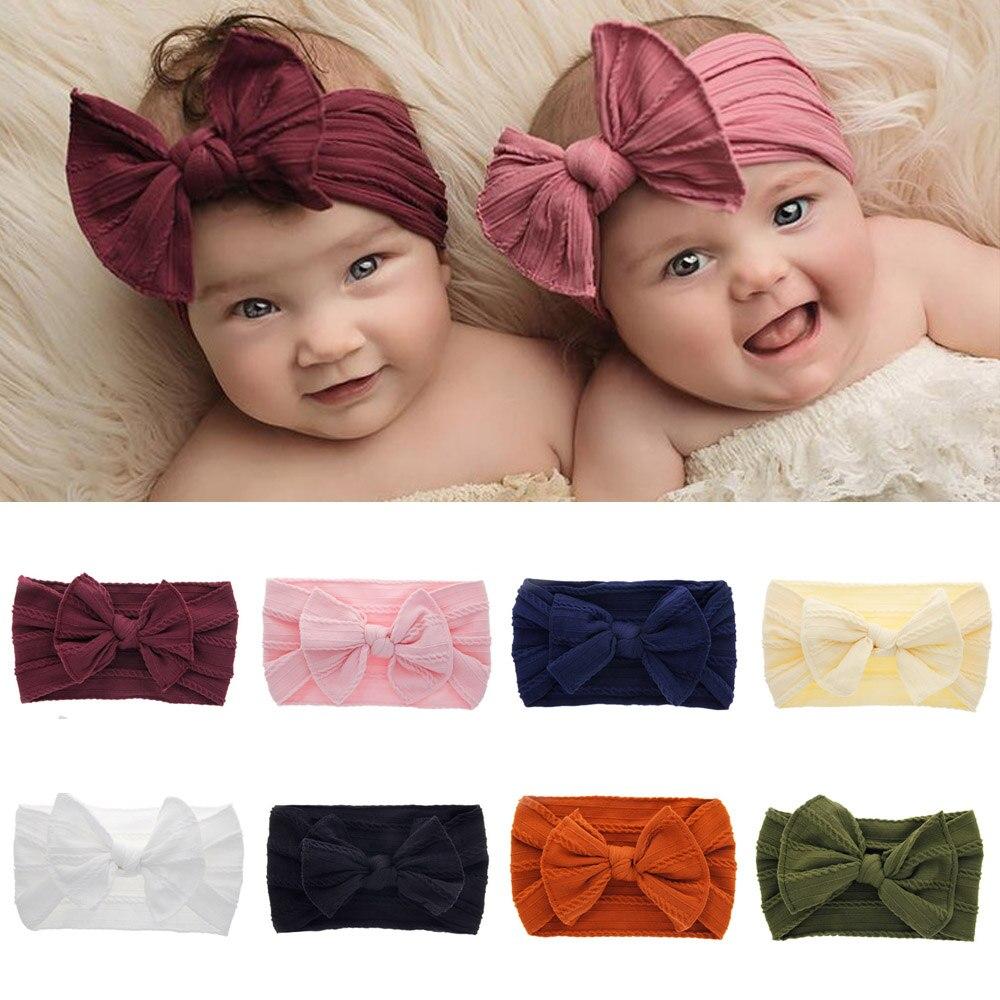 NEW Fashion Cute Baby Girls Kid Bowknot Headband Solid Nylon Elastic Turban Head Wrap Headwear Cartoon Hairband Hair Accessories