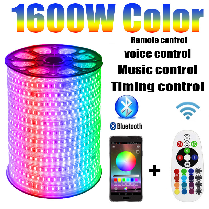 LED Strip 220v RGB APP Bluetooth Control 1600W Color RGB Outdoor Waterproof 1M-100M Music Voice Timing Remote Control
