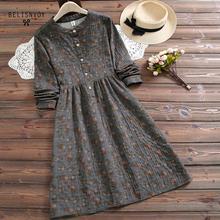 Женское винтажное платье с воротником стойкой, длинным рукавом и цветочным принтомПлатья    АлиЭкспресс