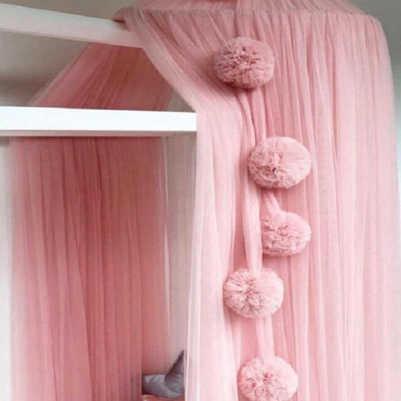 60CM Baby Girls Room Decoration Princess Chiffon Canopy Bed Curtain Net Ball Summer Nordic Style Curtain Mosquito Net Ball