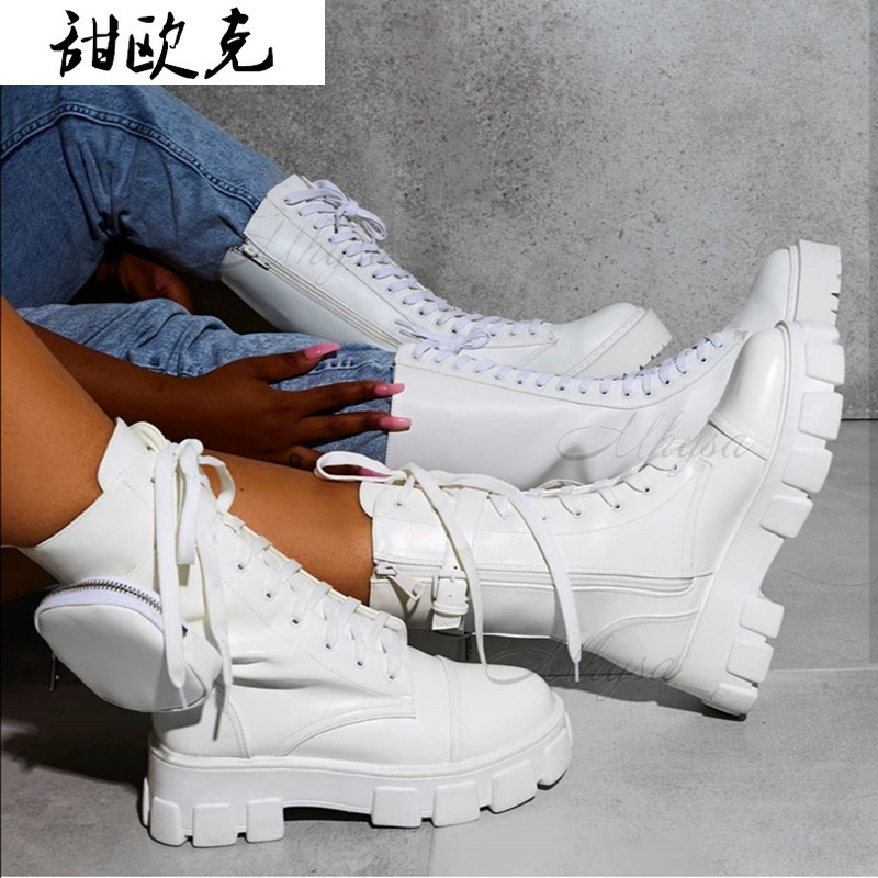 Women Pocket Boot Lace Up Ladies Ankle Boots Female Buckle Strap Black Chunky Sole Pouch Ankle Boots Woman Platform Shoe Fashion