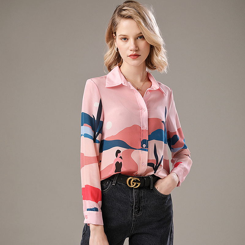 High Quality 100% Silk Blouses Women Shirt Printed Elegant Simple Design Long Sleeves Office Work Top Graceful Style New Fashion
