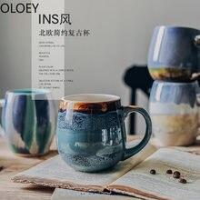 Креативные винтажные кофейные кружки фарфоровые молочные ручной