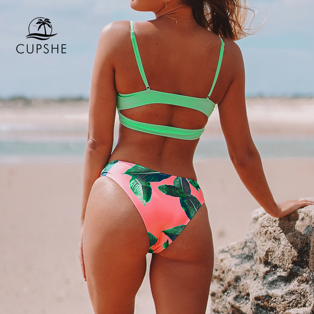 CUPSHE Neon Palm Print Low-waisted Bikini Sets Sexy Cut Out Padded Swimsuit Two Pieces Swimwear Women 2020 Beach Bathing Suits 2