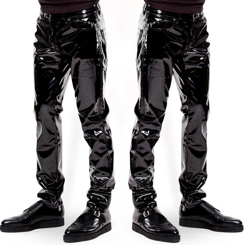 Mens Faux Leather PVC Pants Black PU Leather Shiny Long Pants Motorcycle Ridding Club Dance Party Trousers Males Slim Fit Pants image