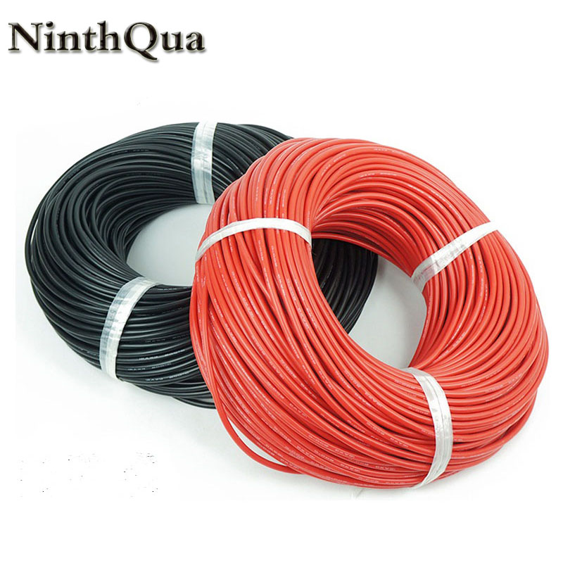 10meter Special soft high temperature <font><b>silicone</b></font> wire 10 11 <font><b>12</b></font> 13 14 15 16 17 18 20 22 24 26 28 30 <font><b>AWG</b></font> (5m red and 5m black) color image