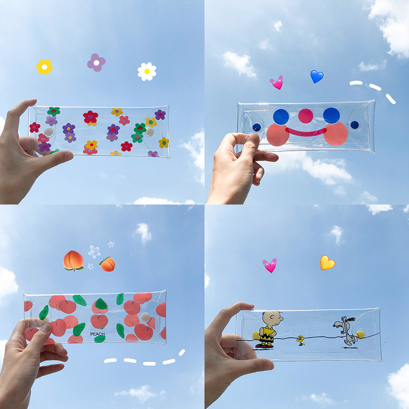 INS Hot Sale Transparent PVC Pencil Bag Lovely Cloud Smiling Face Flower Cosmetic Bag Stationery Receiving Box Pencilcase
