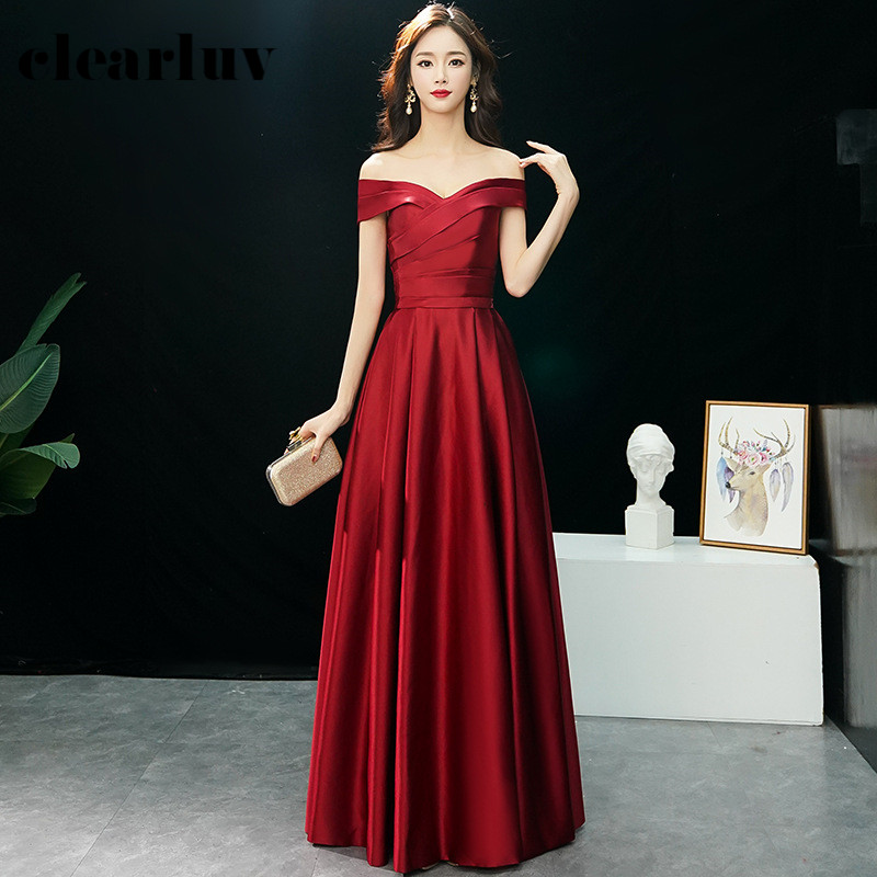 Solid Evening Dresses R228 Simple Boat Neck Party Dress For Women Off The Shoulder A-Line Vestidos De Soiree Floor Length Gowns