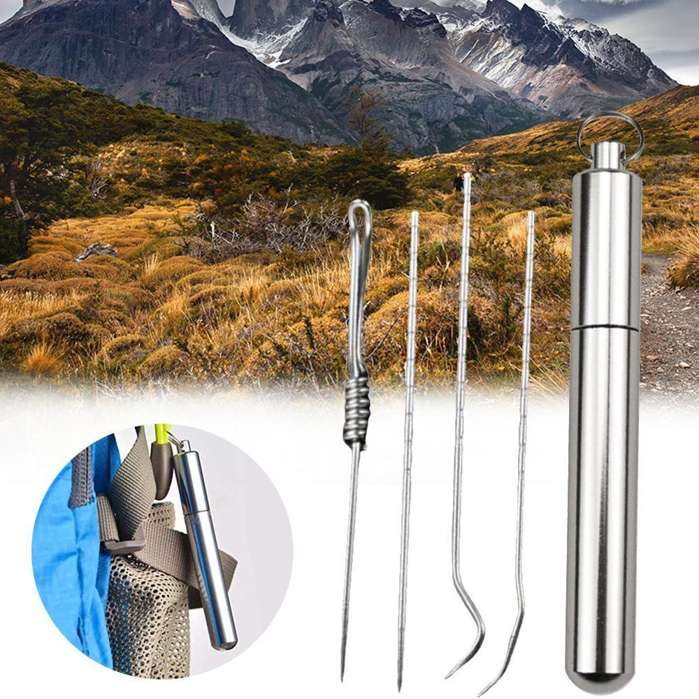 Titanium Alloy Ear Spoon Toothpick Trave Kit Tableware Dinnerware Sets Fruit Picks Toothpick Rust-resistance Outdoor Tools