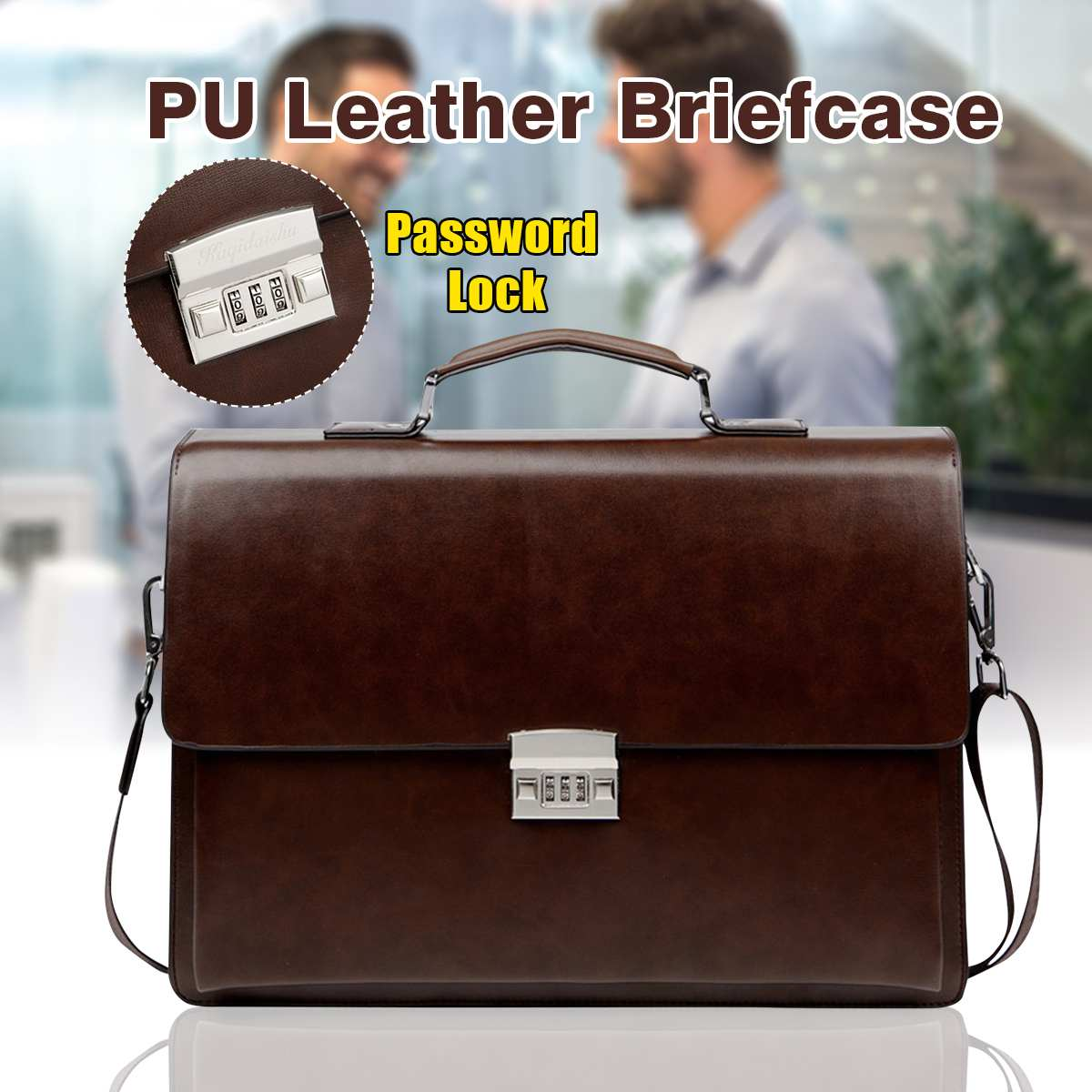Men's Leather Briefcase Bag Fashion British Style Business Bags For Men Laptop Bag Shoulder Bags Male Luxury Handbag With Lock