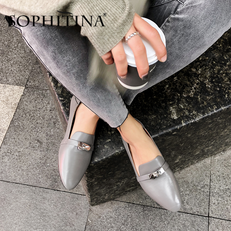 SOPHITINA Fashion Women Flats Office Metal Belt Decoration Slip-On Solid Elegant Comfortable Shoes Beautiful Loafers Flats PO434