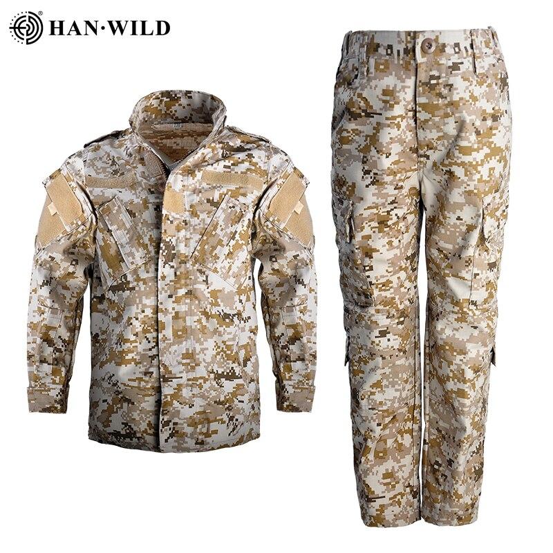 HAN WILD Combat Uniform For 5Y-15Y Children Military Uniform Kids BDU Military Army Tactical Gear Hunting Multicam Shirts&Pants