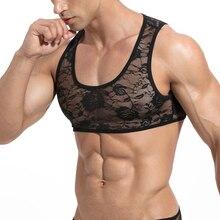 Underwear Transparente Small-Tank See-Through Mens Sleeveless Lace Elastic Skinny Roupas