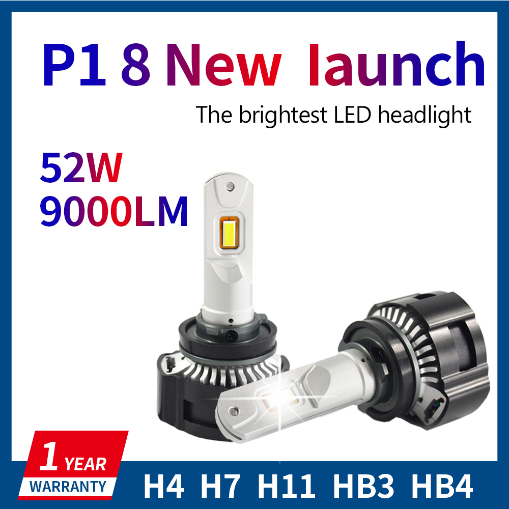 2X H4 LED H7 H11 H8 HB4 HB3 5202 Automatique P18 Voiture Phares Ampoules 104W 18000LM Voiture Style blanc brillant LED automobile 0.15MM