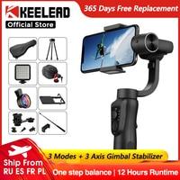 KEELEAD-Estabilizador de cardán, con control de zoom, dispositivo para teléfonos inteligentes, iPhone 11, Samsung S8, Xiaomi, Huawei, cámara Go Pro Action