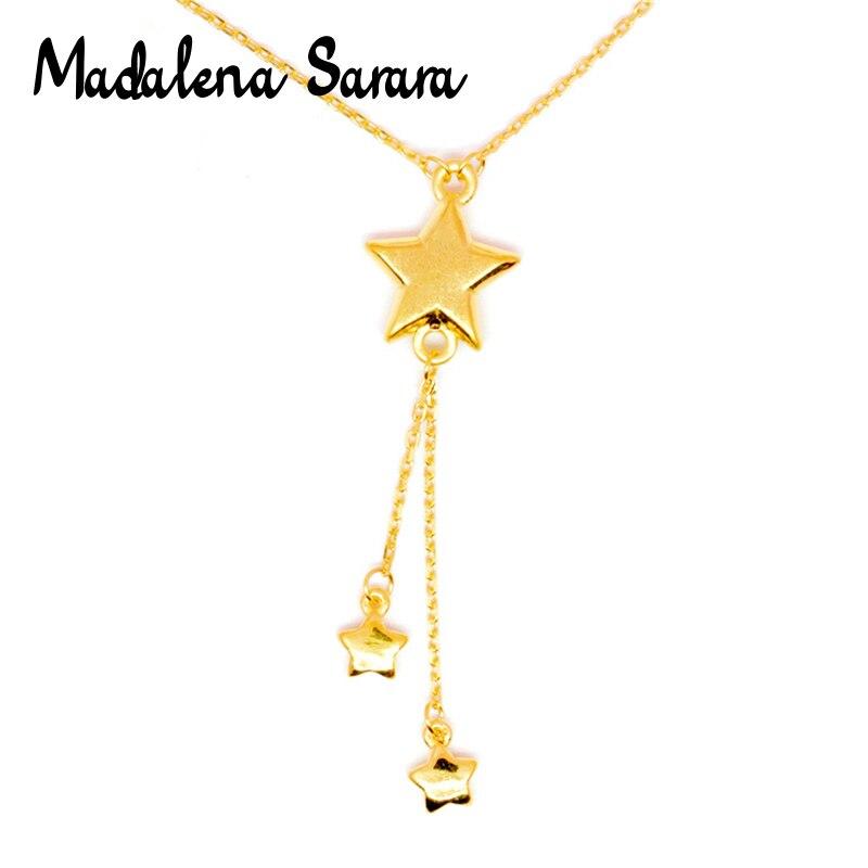 MADALENA SARARA pur or étoile pendentif 18k pur or chaîne collier petite clavicule chaîne collier