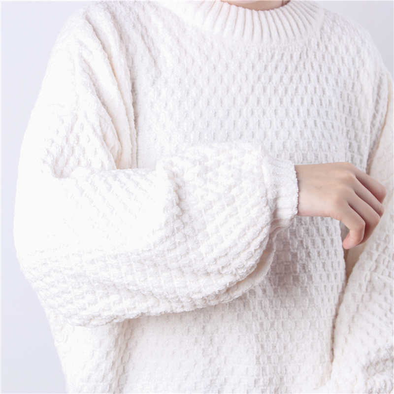 Jersey Hirsionsan de Chenille con mangas acampanadas de color liso para mujer, Jersey holgado de punto de Navidad con cuello redondo, Jersey cálido, Jersey corto básico de gran tamaño