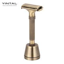Lâmina de barbear luxuosa com novo design, aberto de borboleta, ajustável, segurança, clássico, para homens, barbeador