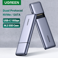 UGREEN SSD caso M.2 Dual protocolo NVMe SATA a USB de 10Gbps M2 duro carcasa de disco Caddy estación de acoplamiento para disco duro externo SSD