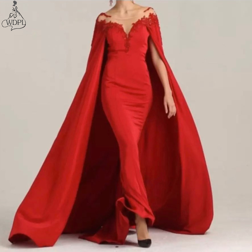 Fashion Simple Red Long Evening Dress With Cape Dubai Arabic Illusion Neckline Formal Dress Party Prom Gowns Plus Size Custom