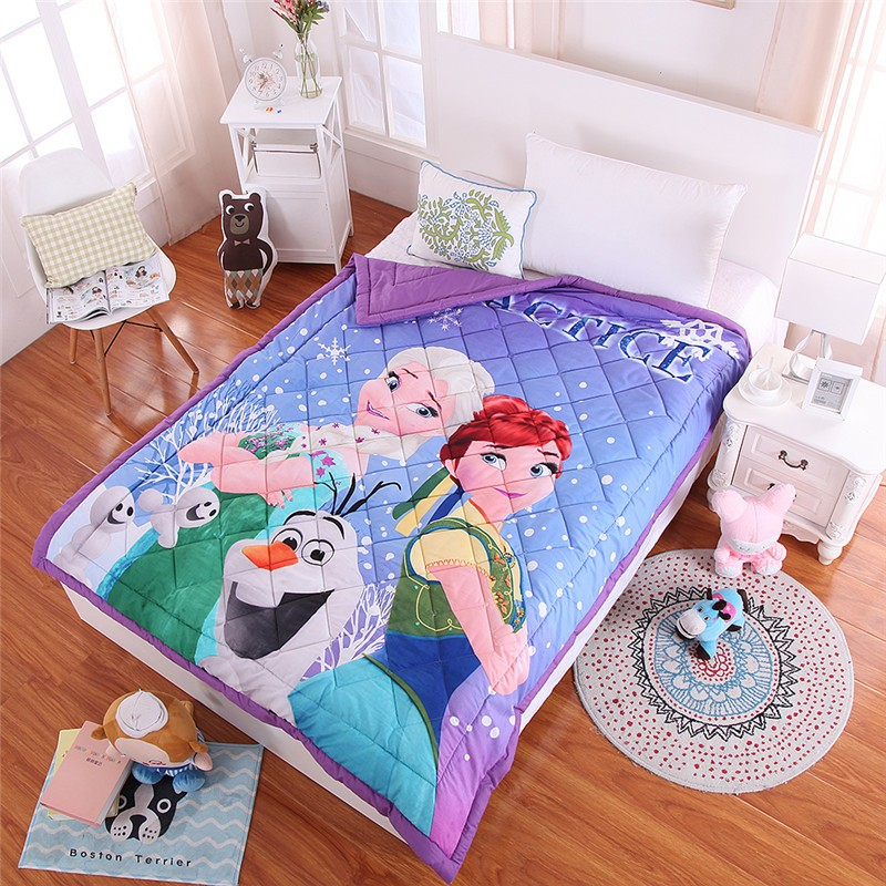 Disney Cartoon Elsa Anna Frozen Sofia Blanket Throw Baby Boys Girls Student Children 150x200cm Air Conditioner Quilt Bedding