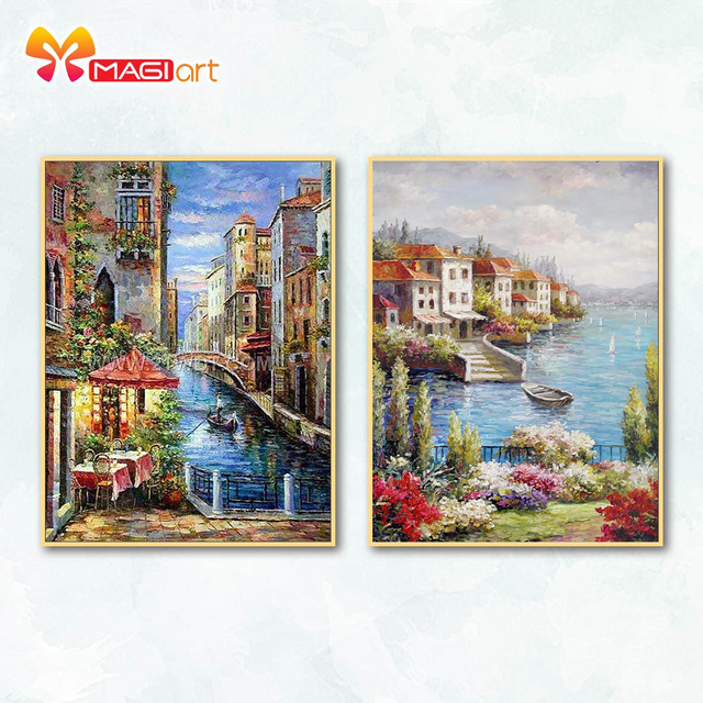 Cross stitch kits Embroidery needlework sets 11CT water soluble canvas patterns 14CT  Seaside scenery Seaside Town NCMS081