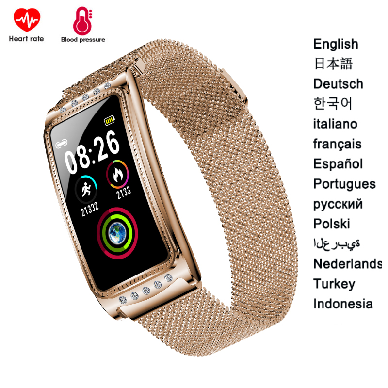 Women Smart Bracelet F28 Blood Pressure Measurement Sports Watch Fashion Fitness Tracker Health Wristband For Android And IOS