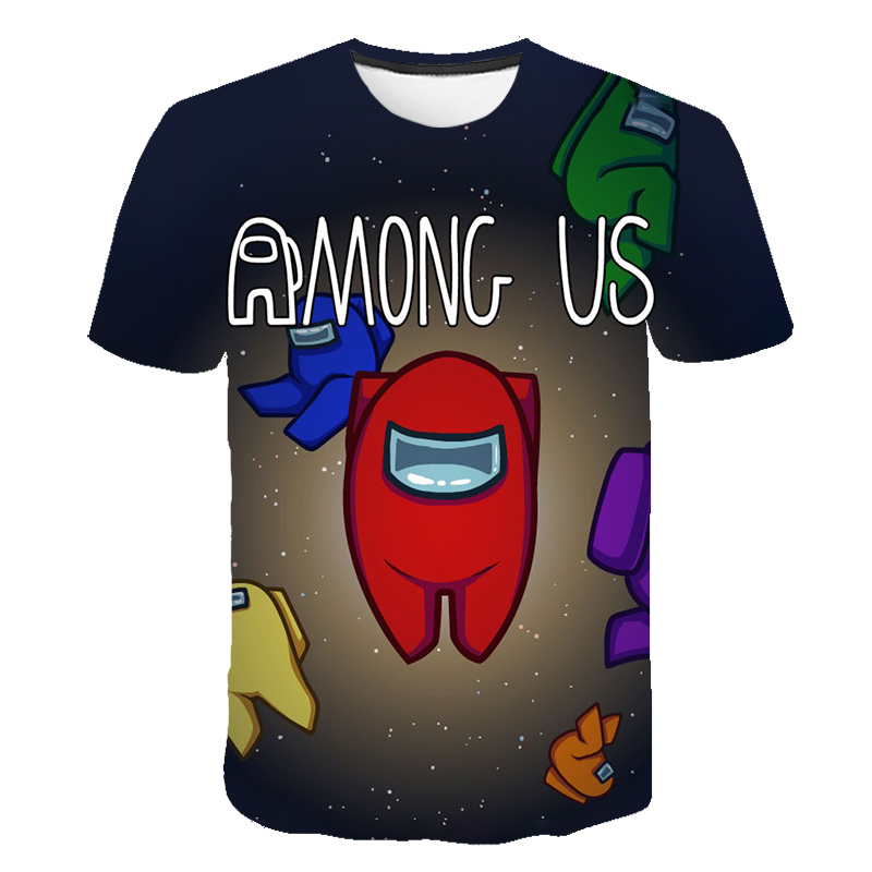 2020 Video Game Among Us T-Shirt Kids Toddler Streetwear 3D Cartoon Anime T shirt Impostor Boys Clothes 4-14Y Summer Top Tee