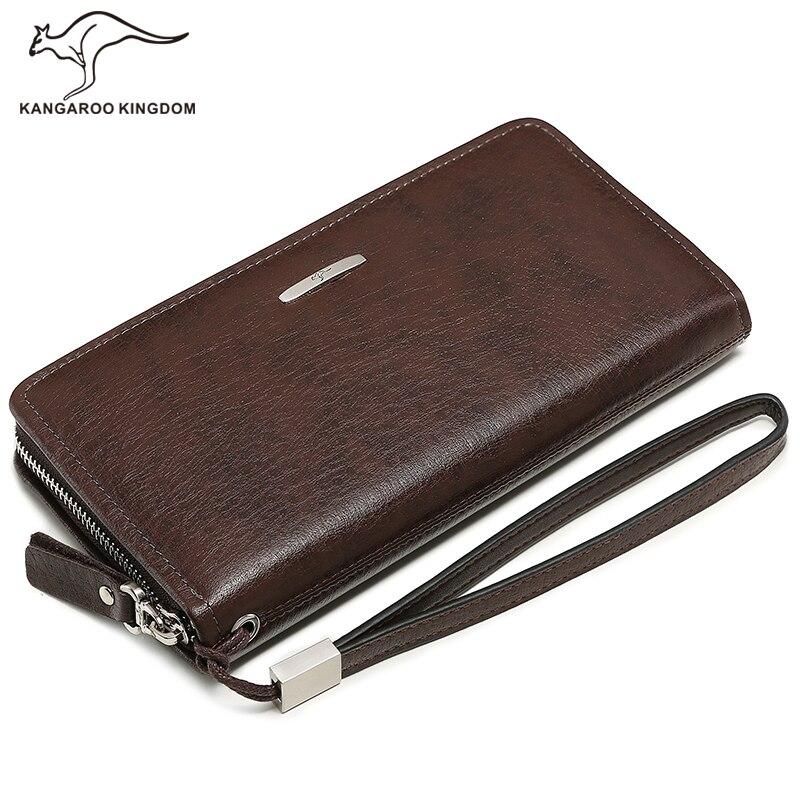 Canguru reino famosa marca de moda masculina carteiras longo couro genuíno negócios embreagem zíper carteira grande capacidade bolsa do telefone - 2