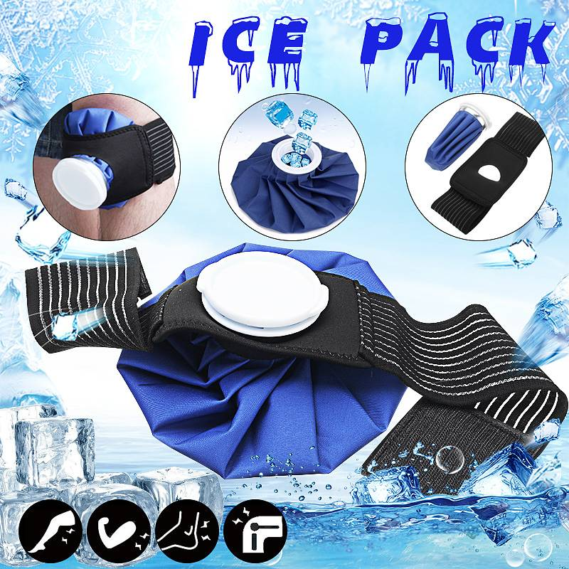 9'' Ice Bag Pack Protector Elastic Tie Belt Set Reusable Knee Head Leg Injury Pain Relief Ice Bag Outdoor Sport First Aid